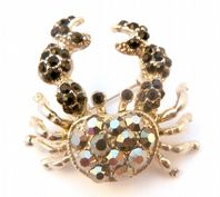 Hematite And Black Rhinestone Set Crab Brooch